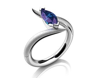 Savage 14K White Gold 1.0 Carat Marquise Alexandrite French Engagement Ring R418S-14KWGAL