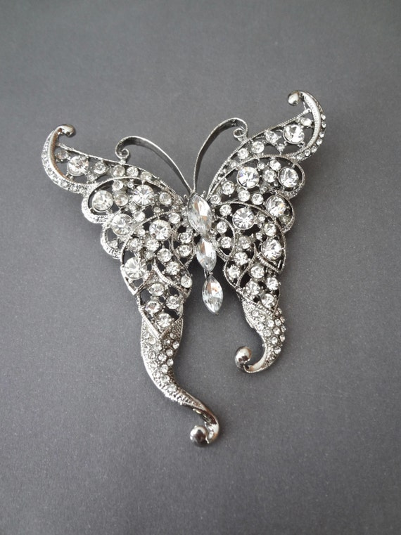 Rhinestone Butterfly brooch ~ Crystal rhinestone butterfly brooch ~ Large ~ For cake ~ Brooch boutique ~ Pin ~ Wedding supply