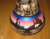 South West Horse Hair Pottery / Signed collectible