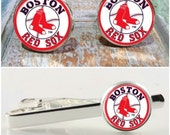 Sporty gift, Boston Red Sox baseball accessories. Baseball cufflinks, Red Sox tie clip or baseball gift set.  Red Sox cuff links, groomsmen