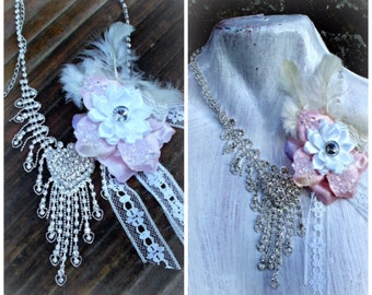 shabby wedding lace necklace,fairy jewelry, white colour