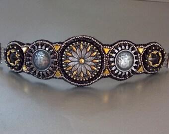 Free Shipping , Bead Embroidery, Bracelet, Statement cuff,  Seed bead bracelet,  Czech glass buttons, Metal button, Swarovski, Black , Steel