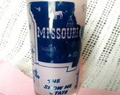 Retro Missouri State Glass - Souvenir Tumbler, Show Me State, Mid Century Glass Momento, Vintage Glassware, Pencil / Toothbrush Holder