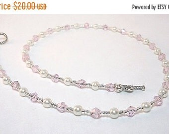 Clearance Sale Crystal Necklace -  Pearl Necklace - Choker Necklace -  Toggle clasp - pink necklace - white necklace
