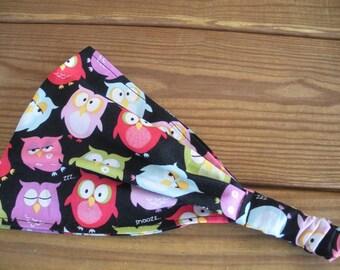 Girls Headband Fabric Headband Accessories Girl Headwrap Owl Print Headband Hair Bandana in Black with Multicolor Owls print
