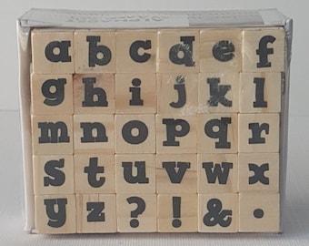 Bold Lowercase Letter Fonts mini ALPHABET Letters Wooden STAMP Set NIP By: Hampton Art