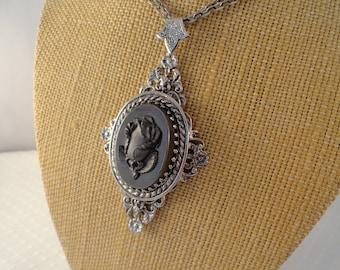 Vintage, Black Rose, Cameo Pendant necklace.