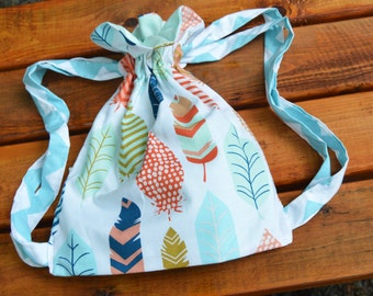 Kids backpack in bright feathers print.  Roomy preschool, overnight or weekend backpack.