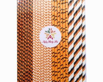 Free shipping paper straws Halloween holiday paper straws 19.7cm L 4 colors U pick 100pcs