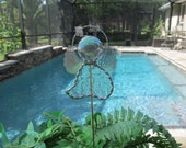 Stained Glass Angel Garden Stake - Clear Granite Iridescent Glass - Memorial Marker  - Potted Plant Stake