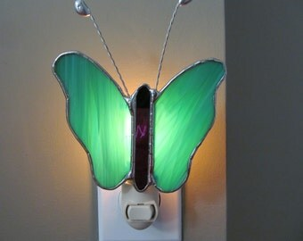 Stained Glass Teal and White Butterfly Night Light - 6 x 5.5 - Authentic Stained Glass, Original Design
