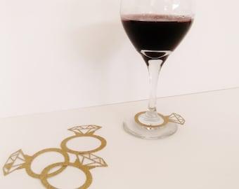 Diamond Ring Wine Glass Decor