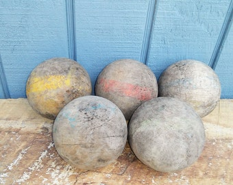 Vintage Wooden Croquet Balls - Set of 5
