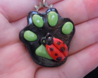 Miraculous Ladybug Paw Print Necklace, Chat Noir Paw with Ladybug Charm, Anime Necklace