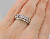 Diamond Anniversary Ring .75 ct Wedding Band 14K White Gold Ring Size 7