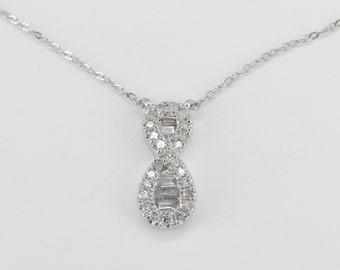 "Diamond Infinity Pendant Necklace 18"" White Gold Chain"