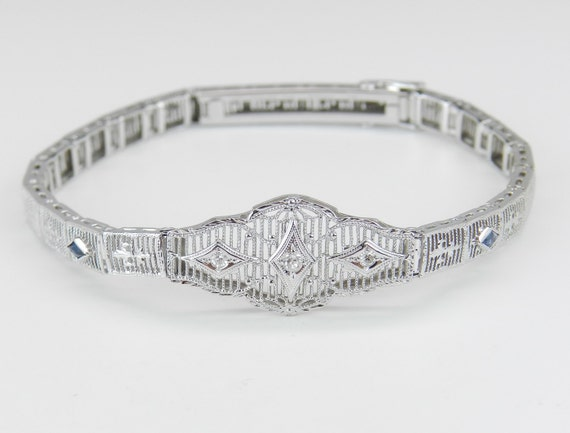 Antique Art Deco 14k White Gold Diamond and Blue Sapphire Filigree Bracelet 1920