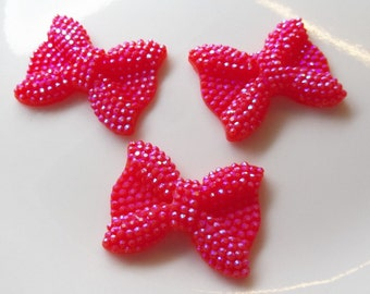 21*24mm, Red Rhinestone Bow Beads, 10CT., Middle Vertical Hole, H68