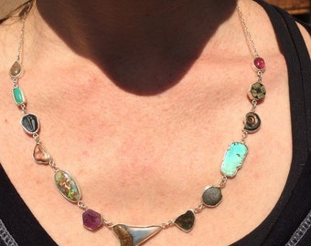 Multi-colored Fossil & Mineral Open Bezel Necklace