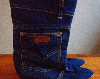 Vintage Denim Boots 80s Women's 5
