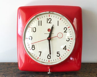 Vintage Red General Electric Electric Wall Clock