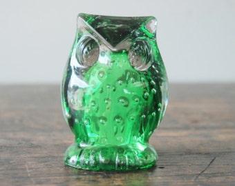 SALE Vintage Lefton Green Glass Owl Figurine, Paperweight