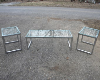 3 vintage 70s 80s glass top CHROME COFFEE END tables  pick up only