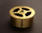 Large Brass Cylinder Gear, Mainspring Barrel from Vintage Clock Movement, Vintage Clockwork Mechanism Parts, Steampunk Art Supplies 03896