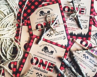 Lumberjack First Birthday Invitation, buffalo plaid, axes and antlers