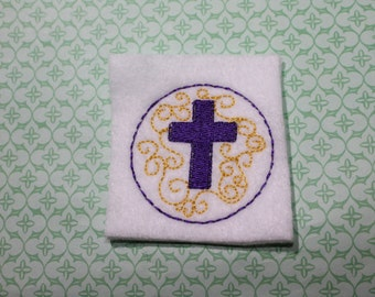 Easter cross feltie, Purple cross w/ gold swirls on white felt, Easter felt stitchie, 4 pcs for hair accessories, scrapbooking, or crafts