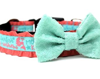 "Dog Collar Bow Add-On Aqua Sparkle Bow for Dogs FOR 1"" BUCKLE COLLAR"