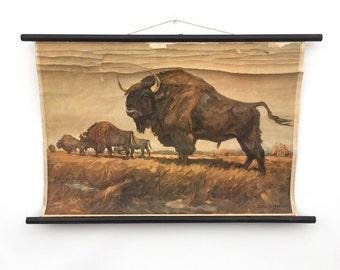 Prehistoric Buffalo or Bison Print on Wooden Scroll, Rustic German Art