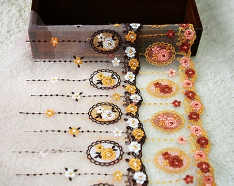 "5 yard 17cm 6.69"" wide orange/coffee mesh embroidery lace trim ribbon L22K429 free ship"