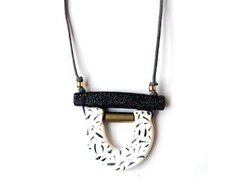 Black Hand Painted Loop Necklace