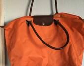 Vintage Orange Nylon Longchamp Paris Tote Bag - Good Condition