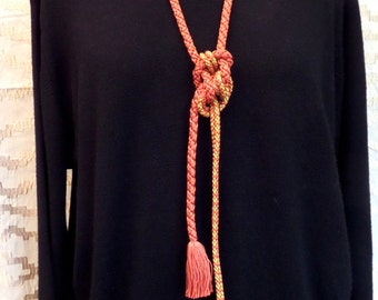 N5 20% SALE!Soft jewellery; long necklace;one only knotted silk cording with tassels;paprika/gold;timeless GIFT