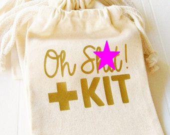 Oh Shit Kit Favor Bag, Birthday Bachelorette 21st birthday cotton favor bag custom tote bag party favors for bachelorette parties