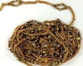 Vintage Jewelry Chain, Beaded Chain, Vintage Jewellery Supplies, Patina Brass, 7mm Wide, 8 Continuous Feet, B'sue Boutiques, Item08636