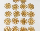 Brass Flowers, Flower Base, Pierced Caging Flowers, Jewelry Making, Raw Brass, Antique Brass, Bsue Boutiques, US Made,  21mm, Item06094