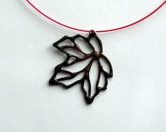 Autumn Maple Skeleton Leaf Pendant