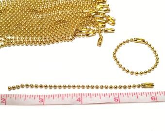 5 Ball Chain - 4-inch - goldtone - key chain - (5 pcs)