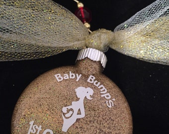 2016 Gold Pregnant Christmas Ornament Baby Bump Ornament Pregnancy Ornament