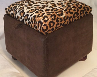 "Footstool Leapord  print fabric on Lid. 11.5"" x 12"" x 12""."