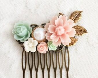Beautiful Wedding Hair Accessories Pink Mint Green Flower Hair Comb Bridal Hair Slide Romantic Bride Floral Hair Adornment Elegant Chic