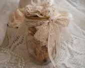 SALE...Rustic Romance Vintage Kerr Mason Jar & Air Dried Hybrid Tea Rose Heads Display From SincerelyRaven On Etsy
