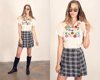 Vintage 80s Plaid Shorts Black Checkered Schoolgirl
