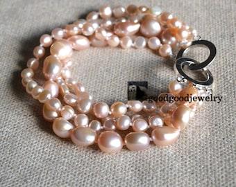 light peach pearl bracelet,wedding bracelet,real pearl bracelet,freshwater pearl bracelet,4 rows 6-14mm pearl bracelet,pearl bracelet