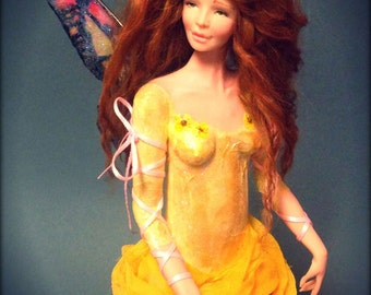 RESERVED OOAK Fairy Art Doll Sculpture by Mamie Leger