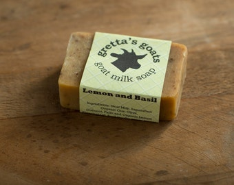 Organic Basil with Lemongrass Goat Milk Soap from Hand Milked Goats that Graze on Organically Managed Pasture