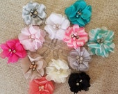 Chiffon Bling Flower Paperclip Set of 4, You Choose Colors, Bookmark, Clip, Teacher Gift, Stocking Stuffer